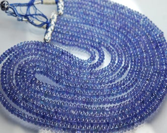 832 Carats,6x20 Inches Strand,Super Finest,Natural TANZANITE Smooth Rondells,5-7mm size,