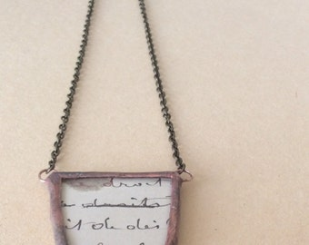 Antique French Letter Soldered Necklace - OOAK, Boho, Gypsy, Statement Necklace