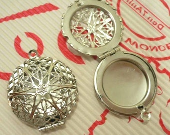 Silver Plated Round Filigree Locket Charms, 2 pcs