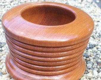 Handturned multi ridged bowl/vase. Chilean myrtle.