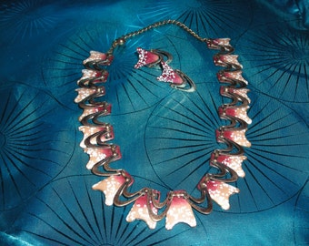 COPPER and ENAMEL Set Necklace and Screwback earrings