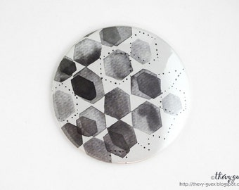 Black and white hexagon abstract watercolor pocket mirror, Geometric, Black and white, Handbag accessory, Compact mirror, Small gift