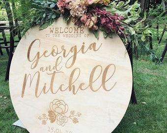 Wedding welcome sign. Laser engraved signage. Round sign