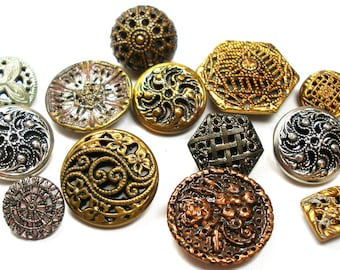 13 Vintage Twinkle BUTTONS, gold & silver metal with reflective liners.