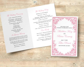 "Wedding Program Printable Folded Booklet Order of Service Wedding Template Program Timeline INSTANT DOWNLOAD ""Forever Flourish"" Darling Rose"