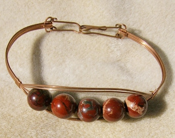 Wire Wrapped Bracelet - Outstanding Chunky Red Brecciated Jasper in Copper by JewelryArtistry - BR607