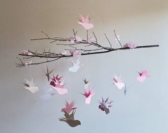 Bird Mobile - Baby Mobile, Hanging Mobile, Nursery Mobile, Home Decor, Gray and Pink Mobile, Branch Mobile, Ceiling Mobile, Flower Mobile
