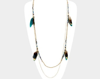 Teal Feather Multi Layered Beaded Necklace