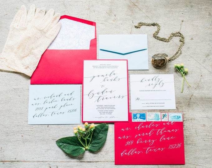 Two Layer Red & Blue Romantic Floral Calligraphy Wedding Invitation with Envelope and RSVP - Other Color Options Available!