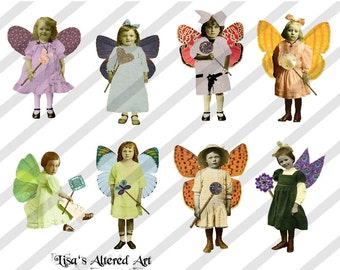 Digital Collage Sheet Fairies With Wings 12 (Sheet no. FW12) Instant Download