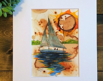 Coffee Art- White Sailboat Watercolor Print 8x10 matted to 5x7 First Edition By Craig Peterson