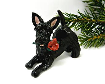 Scottish Terrier Black Porcelain Christmas Ornament Figurine Red Rose