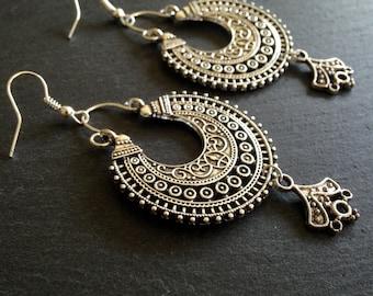 Boho earrings, Bohemian earrings, Long Tribal earrings, Gypsy earrings, Ethnic earrings, Silver dangle earrings