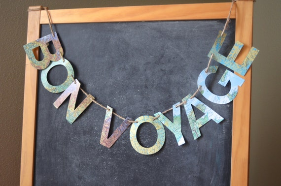 Bon Voyage or We Will Miss You Banner made from Vintage atlas paper