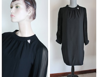 1960s Black Formal Dress, Size 11 12 Chiffon Pleated Sleeves Union Label