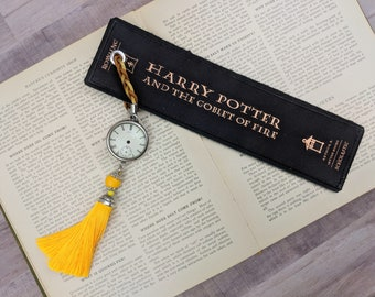 Harry Potter And The Goblet Of Fire - Harry Potter Bookmark Leather Bookmark - Book Spine Bookmark - Unique Bookmark Tassel Bookmark