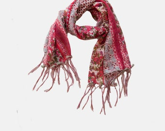 Floral scarf, summer scarf, scarf on Sale, colorful scarf with Tassels, Light Scarf, gift scarf, pink scarf, tassels scarf,