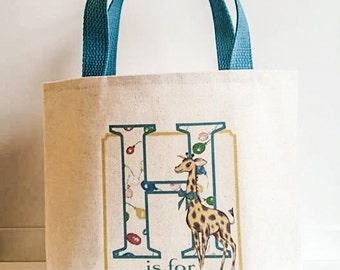 Zoo Birthday ,Birthday tote bag,Birthday bag,Children's Zoo birthday party favor,Alphabet tote