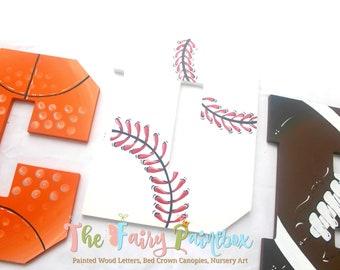 Sports Painted Wood Letters - Baseball Nursery Letters - Basketball Football Kids Room Decor - Sports Nursery Decor - Painted Wood Letters