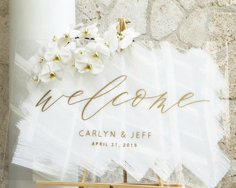 Acrylic Wedding Sign, Painted Acrylic Welcome Sign, Plexiglass Wedding Welcome Sign