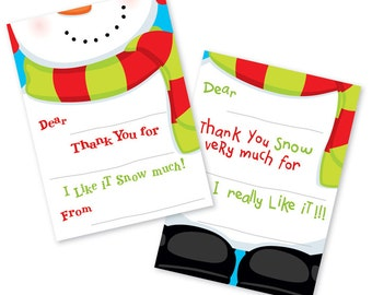 Kids Christmas Thank you Notes, Fill-In Thank you Cards, Christmas Notes, Fill- In Thank You Notes, Fill-In the Blank Cards, Snowman Notes