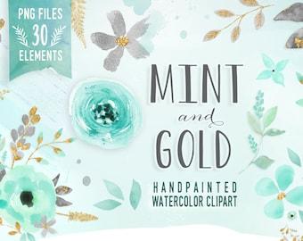 Mint and Gold - Watercolor Mint Flower Clipart, Wedding floral Clip art, Floral Bouquet Clipart, mint flowers clip art, Watercolor Clip Art