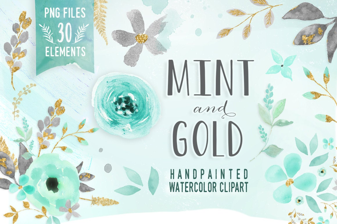 Mint And Gold Watercolor Mint Flower Clipart Wedding Floral
