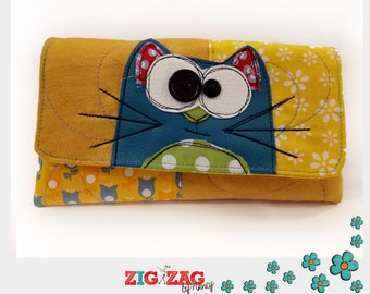 """Case for glasses or phone """"Cat"""" yellow and blue (20x10cm)"""