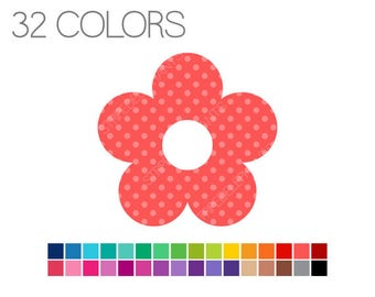 Flower Clipart Polka Dots - Flowery Clip Art - Girl Clipart - Digital Clip Art - Instant Download - Commercial Use