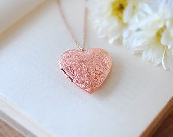 Rose Gold Heart Locket Necklace, Photo Locket, Heart Jewelry, rose gold jewelry, Mothers Day gift, Gift for Mom wife Girlfriend her