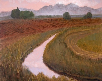 Small Landscape, Small Oil Painting, Daily Painting, Skagit Valley Farmlands painted on copper in a Dark Copper wood  frame OOAK