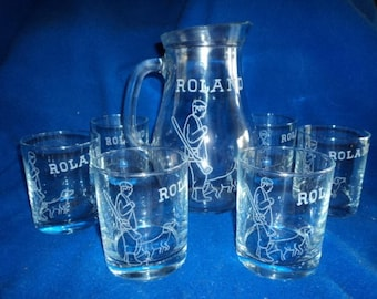 Set of 6 goblets and 1 pitcher 1 L engraved and personalized glasses, Inscriptions and design choice