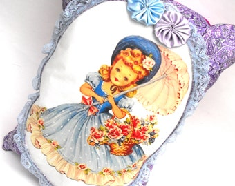 Lavender's Blue Dilly Pillow Handmade Decorative Girls Room Decor Nursery Rhyme Mother Goose Baby Shower Gift Pocket Lace Hand-Sewn Rosettes