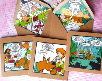 Scooby Doo Cards - 3 Scooby Note Cards- Small Scooby Notelets - Scooby Envelopes - ScoobyDoo Party- ScoobyDoo Party Decoration