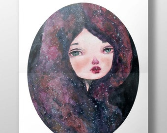 CASSIOPEIA - A pop surrealist watercolor Danita painting inspired by the night sky. Available in signed posters and mounted wall art ready