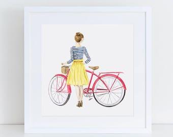 Fashion Girl with Coral Beach Cruiser Fine Art Watercolor Print