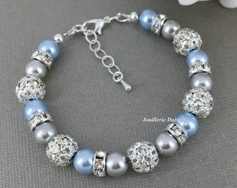 Light Blue and Grey Pearl Bracelet Bridesmaid Gift on a budget Maid of Honor Gift Swarovski Bracelet Jewelry Gift for Her Mother in Law