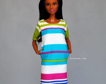 cute striped dress with pockets for Barbie, Momoko, FR, Poppy Parker, Blythe, Pullip & other 1:6 scale dolls