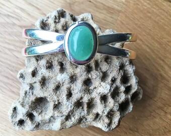 Green Aventurine Bracelet, Womens Bracelet, Silver Bracelet, Cuff Bracelet, Cuff Bangle, Womens Accessories, Gift For Her, Birthday Gift