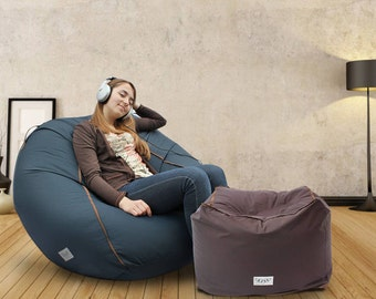 Adult bean bag cover, Large lounge chair, Large Pouf, Adult lounge chair, Large Bean bag chair, Floor pillow cushion, (NO beans filling)
