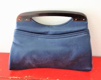 Navy Blue Purse, Bakelite Clutch Blue Purse Stocko Brand