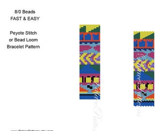Tribal Bead Loom and Peyote Stitch Bracelet Pattern - 8/0 Seed Bead Pattern - 8Bead Tribal1 - Fast and Easy Large Seed Bead Pattern