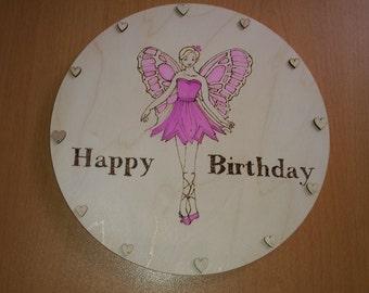 fairy happy birthday wooden plaque