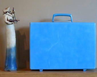 Dads Grads Sale Samsonite Baby Blue Hard Shell Briefcase Attache With Key - Rare Retro Case