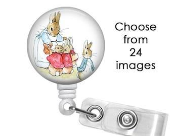 Peter Rabbit (24 Choices) Badge Reel, ID Badge Holder clip, Medical Badge Reel, beatrix potter, goose, cat, mouse, carrot