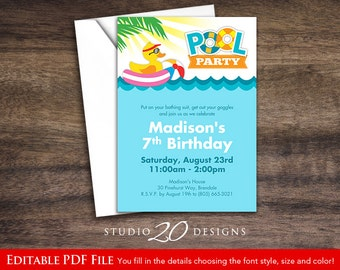 Instant Download 5x7 Pool Party Invitations, DIY Editable Pdf, Duck Birthday Pool Party Invitations, Summer Party Invites AUTOFILL #21A