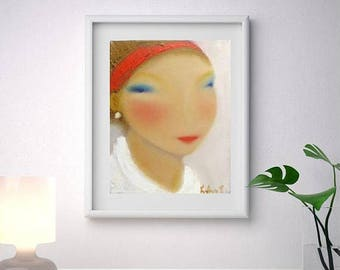 Red bandanna abstract female portrait, Abstract face painting oil canvas, small original oil art, giclee prints from original, modern art