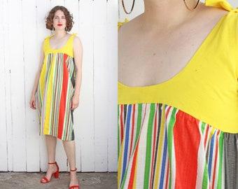 Vintage 80s Dress | 80s Yellow Rainbow Cotton Striped Sundress | Medium M