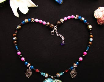 Ethnic labradorite, Amethyst Heart Necklace, apatite, and abalone