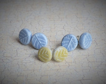 SALE ~ Hand Made Clay Leaf Print Faux Stone Ear Studs in Celadon Pebble Blue- Tiny Posts Earrings by Brooke Baker